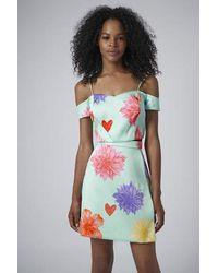 TOPSHOP - Green Limited Edition Flower Bardot Crop Top - Lyst