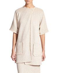 St. John - Natural Eyelash-fringed Knit Jacket - Lyst