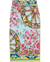 Dolce & Gabbana | Blue Printed Stretchsilk Crepe Pencil Skirt | Lyst