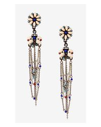 Express | Multicolor Flower Post Drop Earrings With Beaded Chain Fringe | Lyst
