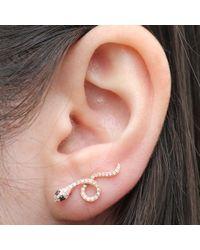 Anne Sisteron - Pink 14kt Rose Gold Black Diamond Snake Ear Cuff - Lyst