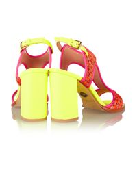 Markus Lupfer - Pink Neon Leather And Brocade Sandals - Lyst