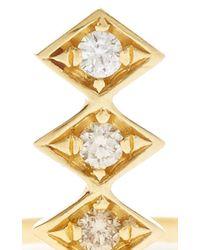 Azlee - Metallic 18k Gold And Diamonds Single Burst Ring - Lyst