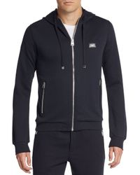 Dolce & Gabbana | Blue Logo Plaque Cotton & Silk Hoodie for Men | Lyst