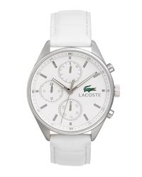 Lacoste - White 'philadelphia' Multifunction Leather Strap Watch - Lyst