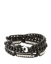 Colana | Black Leather Wrap Bracelet With Onyx | Lyst