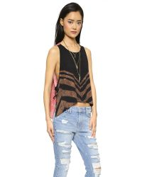 Free People | Pink Touch Of Love Top - Black Combo | Lyst