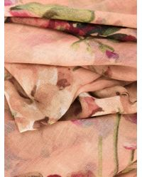 Gucci - Pink Silk And Cashmere Scarf With Blooms Print - Lyst
