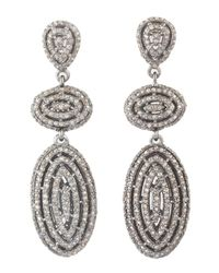 Bavna - Metallic Sterling Silver Earrings With Champagne Rose Cut Diamonds - Lyst