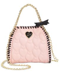 Betsey Johnson Pink Mini Quilted Chain Handbag