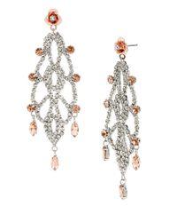 Betsey Johnson | Pink Ballerina Rose Chandelier Drop Earrings | Lyst