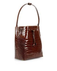 The Row Brown Crocodile Bucket Bag