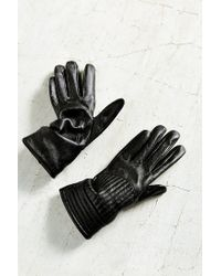 Urban Outfitters Black Moto Rib Leather Glove