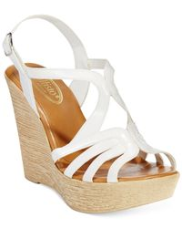 Callisto White Tiara Platform Wedge Sandals