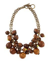 Lela Rose - Brown Wooden Bauble Bib Necklace - Lyst