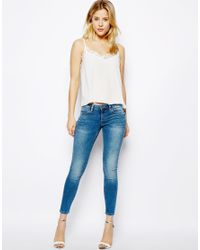 ASOS | White Woven Cami with Lace Neckline | Lyst