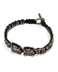 Tobias Wistisen Black Metal Macrame Bracelet for men