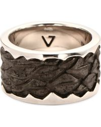 Seven London | Metallic Leather-detail Silver Band Ring for Men | Lyst