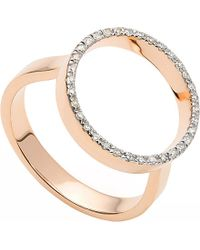 Monica Vinader | Diva Circle Open Ring - For Women, Black/Dark Salmon | Lyst