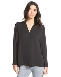 NIC+ZOE | Black 'majestic' Matte Satin V-neck Blouse | Lyst