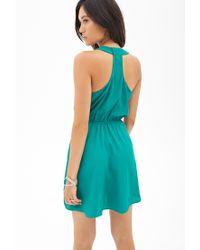 Forever 21 - Green Woven Surplice Dress - Lyst