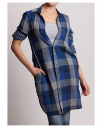 Bungalow 20 - Blue And Gray Checkered Plaid Long Shirt - Lyst