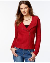 Lucky Brand | Red Lucky Lotus By Lucky Brand Hooded Tweed Jacket | Lyst