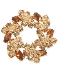 Carolee | Metallic Crystal Wreath Pin | Lyst