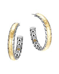 John Hardy Metallic Classic Chain Palu Silver & Gold Hoop Earrings