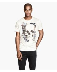 H&M - White T-Shirt With A Print for Men - Lyst