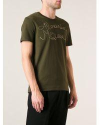 Alexander McQueen - Green Embroidered T-Shirt for Men - Lyst
