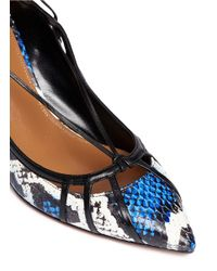 Aquazzura - Blue 'seduce Me' Snakeskin Lace-up Pumps - Lyst