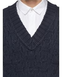 Kolor - Blue Chunky Knit Vest for Men - Lyst