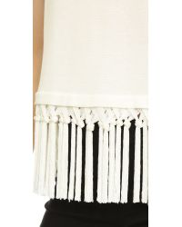 MILLY Braided Fringe Top - White