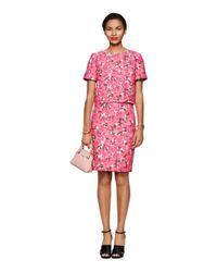 Kate Spade | Pink Rose Brocade Pencil Skirt | Lyst