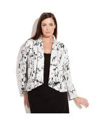 Calvin Klein - Black Plus Size Marbleprint Openfront Jacket - Lyst