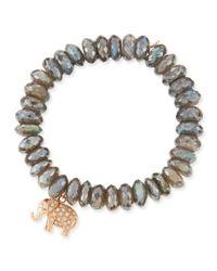 Sydney Evan | Pink 10mm Labradorite Bead Bracelet With Diamond Elephant Charm | Lyst