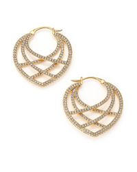 Adriana Orsini | Metallic Elevate Pavé Crystal Hoop Earrings | Lyst