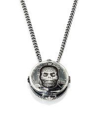 King Baby Studio Metallic Half Dollar Skull Pendant Necklace