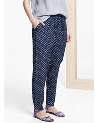 Violeta by Mango Blue Flowy Printed Trousers