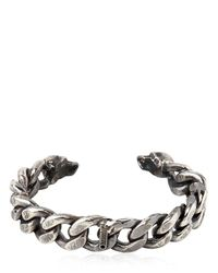 Emanuele Bicocchi - Metallic Sterling Silver Chunky Chain Skull Cuff for Men - Lyst