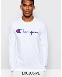 Champion White Long Sleeve T-shirt With Script Logo Exclusive To Asos for men