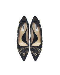 Moschino - Black Quilted Nappa Pump W/chain - Lyst