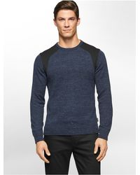Calvin Klein | Black White Label Ponte Knit Crewneck Sweater for Men | Lyst