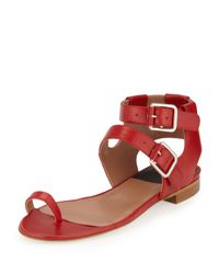 Laurence Dacade | Red Double-Buckle Leather Sandal | Lyst