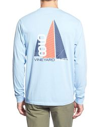 Vineyard Vines | Blue 'sails Away' Long Sleeve Graphic T-shirt for Men | Lyst