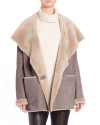 Vince - Gray Hooded Shearling Coat - Lyst