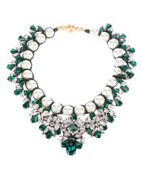 Shourouk | Green Marisa Emerald Embellished Necklace | Lyst