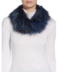 Adrienne Landau | Blue Knit Fox Fur Scarf | Lyst