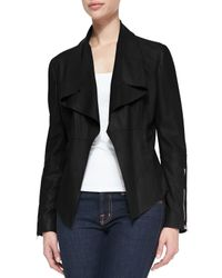 Kors by Michael Kors - Black Leather Drape-Front Jacket - Lyst